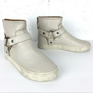 Lena Equestrian Harness Booties Off-White Painted Suede Sneaker Booties Size 8.5
